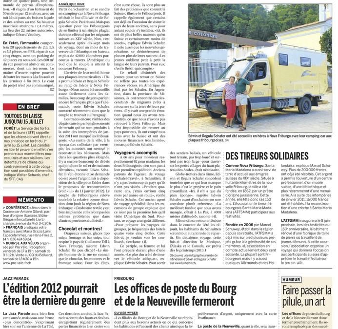 """Bericht in der französischsprachigen Tageszeitung """"La Liberté"""""""