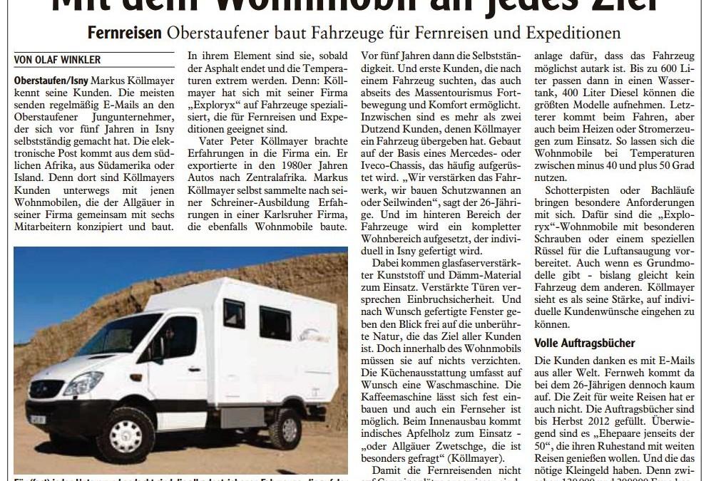Bericht in der Allgäuer Zeitung von Dezember 2011