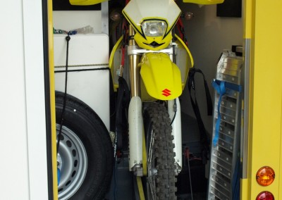 Motorradgarage im Heck