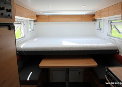Innenraum individuell gestaltet im Expeditionsmobil