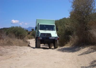 Testen der Wendigkeit des Reisemobils