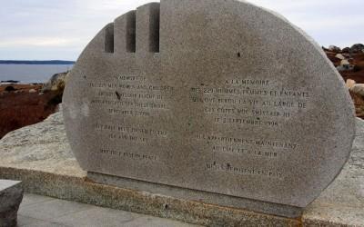 die schlichte Erinnerung an den tragischen Swissair Absturz (bei Peggy's Cove)