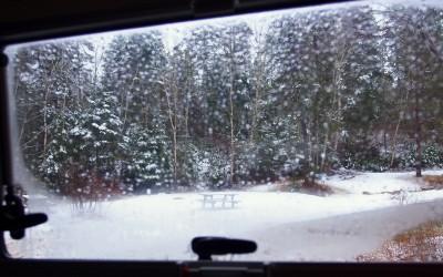 Winterliches Campingleben im Frühling von Nova Scotia