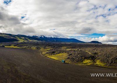 Schwarze Lavawüste mit Hekla